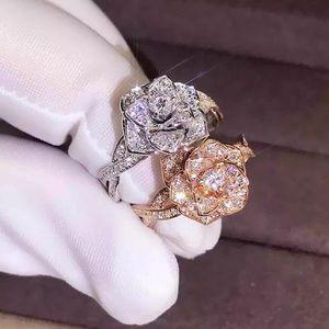 Engagement 🌹Flower Rose White/Rose Diamond Ring
